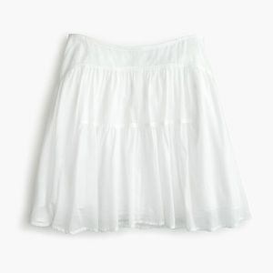 NWOT J.Crew White Tiered Cotton Voile Mini Skirt